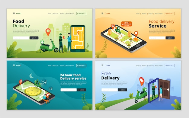 Set of online food delivery service landing page template