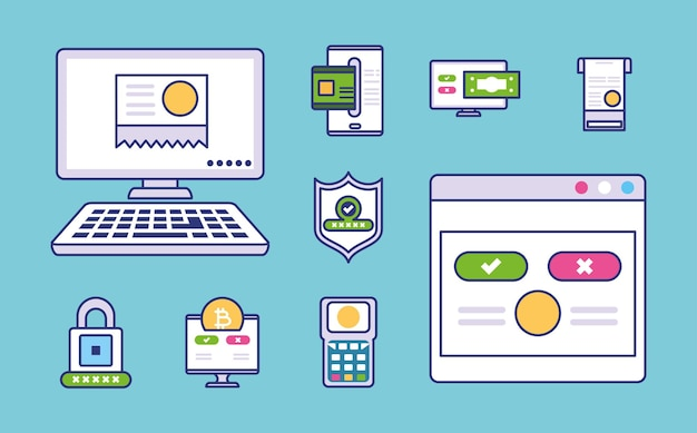 Set of online payment method icons