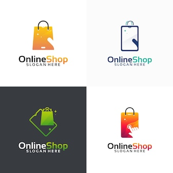 Set of online shop logo designs template, phone shop logo symbol icon, logo template icon