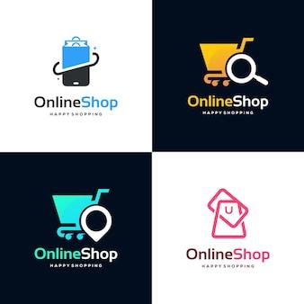 Set of online shop logo designs template vector, simple shopping logo icon