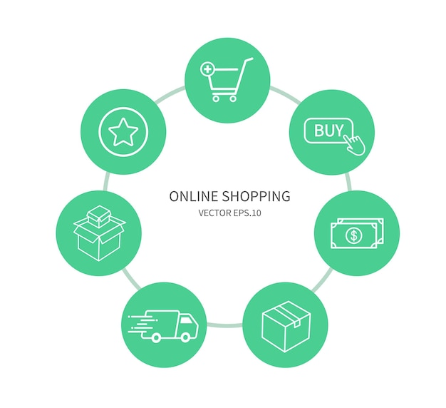 Set of online shopping on white background design for web apps and mobile