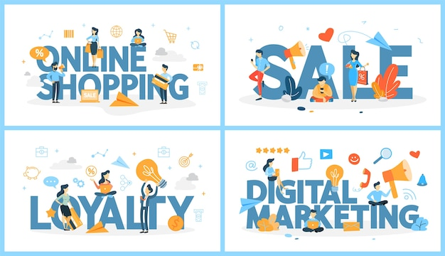 Set of online shopping word with people around. sale and customer loyalty. digital marketing strategy. modern technology, internet and e-commerce. vector abstract line illustration