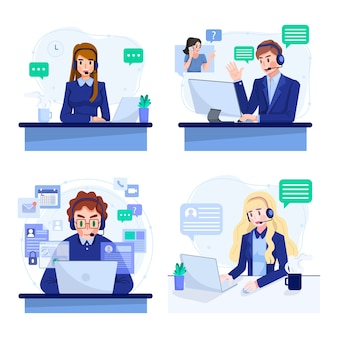 Set of online support or call center service concept illustration