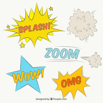 Set of onomatopoeias and  hand drawn comic effects