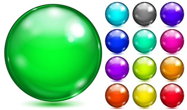 Set of opaque spheres of various saturated colors with glares and shadows