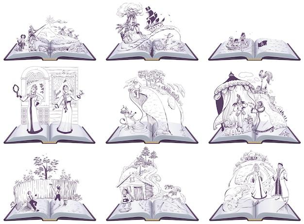 펼친 책 동화 그림을 설정합니다. 학교에서 읽을 책 세트. 흰색 만화 그림에 절연