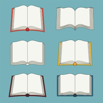 Set of open book icons