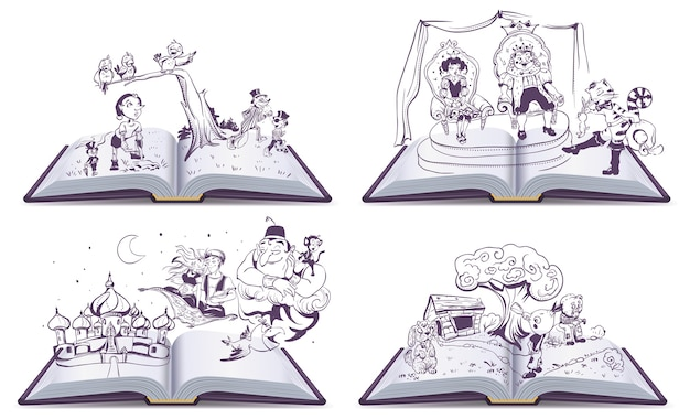 Set open book illustration tale story of pinocchio, cipollino, alladin and puss in boots.