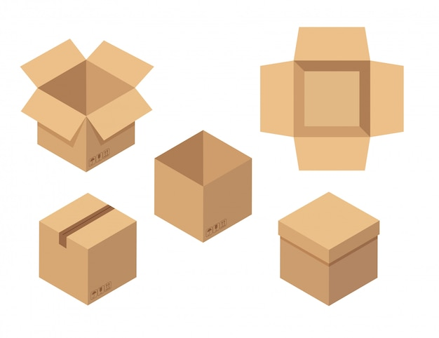 Set of open and closed boxes. brown cardboard box top view.