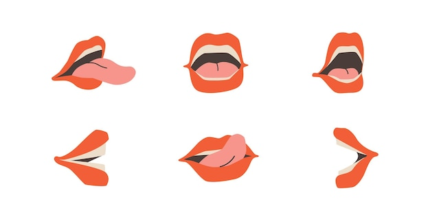 Set of open mouths female lips teeth and tongue talking mouth in different versions