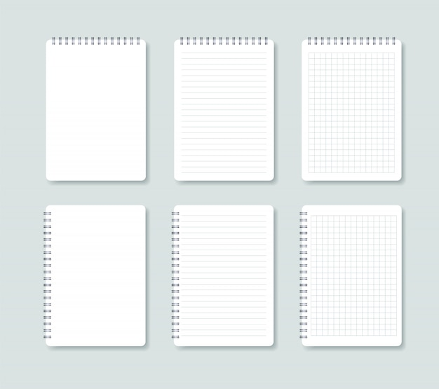 Set of open notepad. notebook sheets in a line and in a cage.