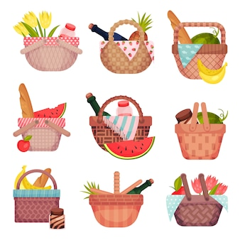 Set of open wicker picnic baskets with bottles