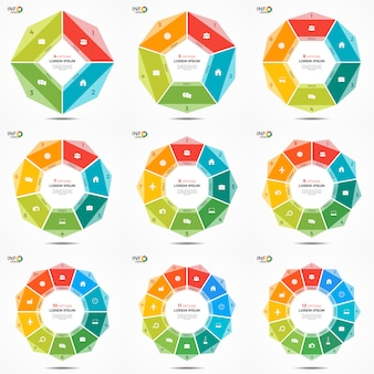 Set options circle chart infographic templates