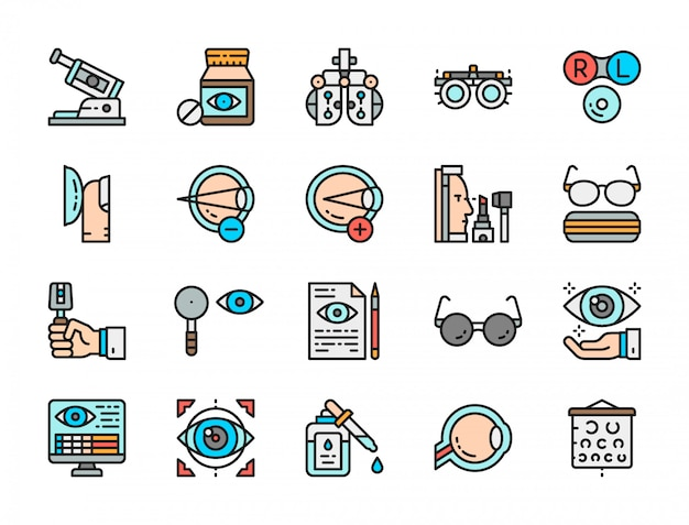 Set of optometry flat color icons.