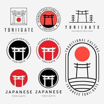Набор или связка векторных логотипов ворот тории, винтажные иллюстрации, линия искусства, эмблема, японская культура