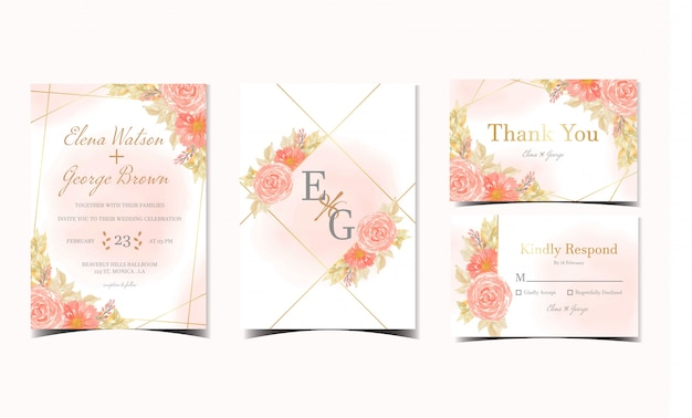 Set of orange floral wedding invitation collection with roses and daisy flowers