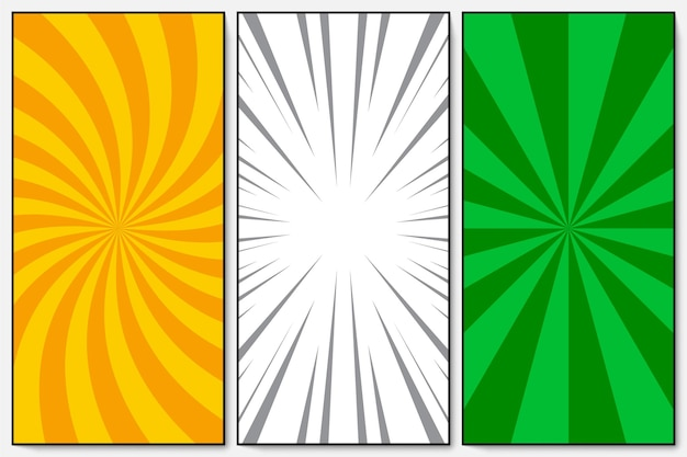 Set of orange, green, white rays and spiral background pop art retro