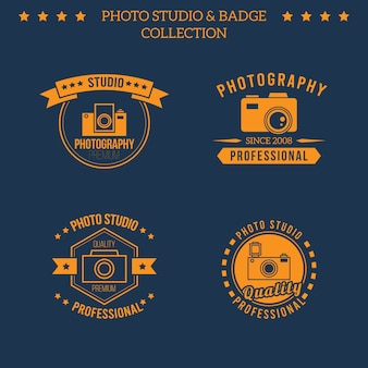 Set of orange logos for photo studio