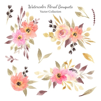 Set of orange and pink watercolor floral bouquets vector collection