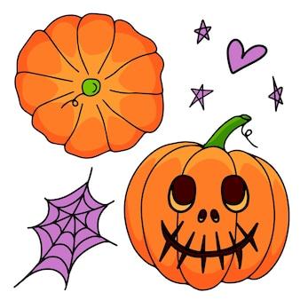 Установите оранжевую тыкву с паутиной и сердечками на белом фоне