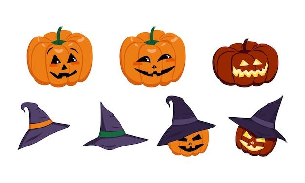 Set of orange pumpkins with hat face eyes