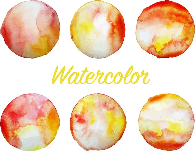 Set of orange watercolor circles