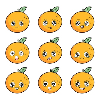 Set of orange with different emotions