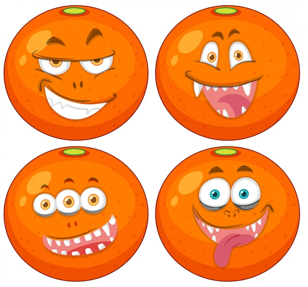 Set of oranges with expressions