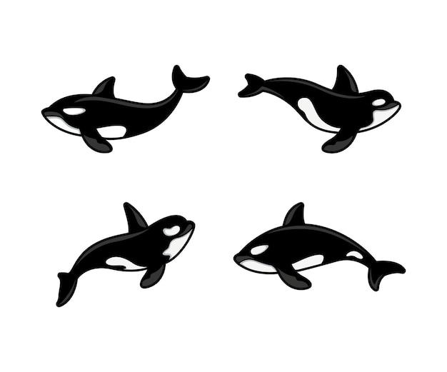 Set of orca logo design template