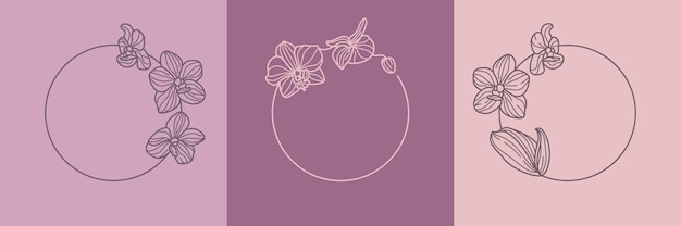 Set of orchid flower round wreath and monogram concept in minimal linear style. vector floral logo with copy space for letter or text. emblem for cosmetics, medicines, food, fashion, beauty
