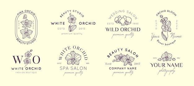 난초 로고 디자인 템플릿을 단순한 최소 선형 스타일로 설정합니다. 뷰티 살롱, 스파, 웨딩 부티크, 사진 작가, 패션 매장, 꽃 가게를 위한 벡터 꽃 엠블럼 및 아이콘