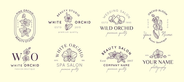 Set orchid logos design templates in simple minimal linear style. vector floral emblem and icon for beauty salon, spa, wedding boutiques, photographers, fashion store, flower shop
