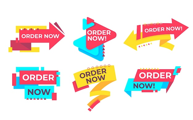 Set of order now banner