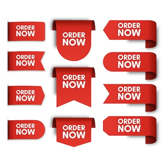 Set of order now promo labels