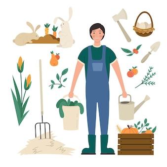 Insieme di elementi di agricoltura biologica e agricoltore