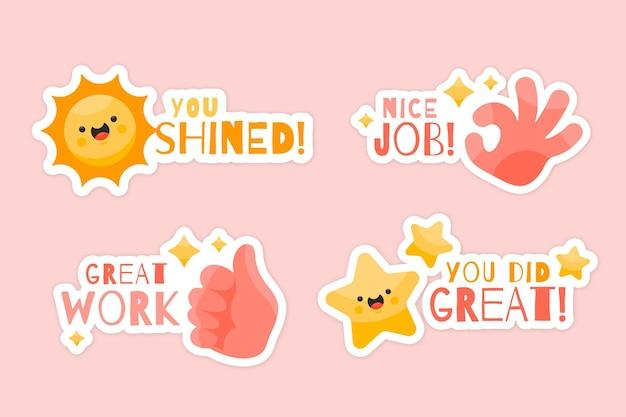 Set of organic flat good job stickers