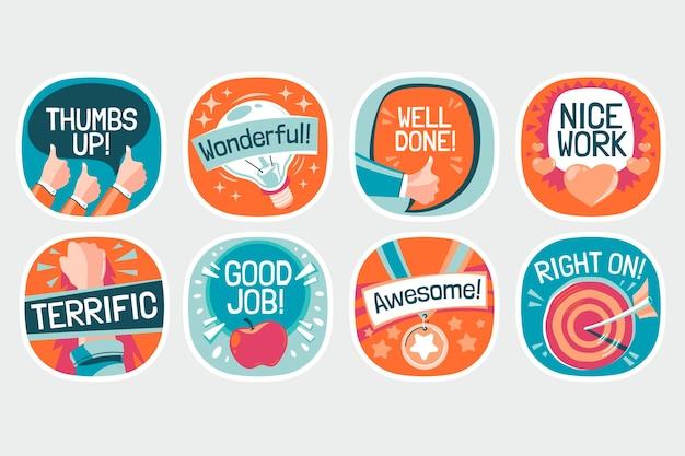 Set of organic flat motivational great job stickers