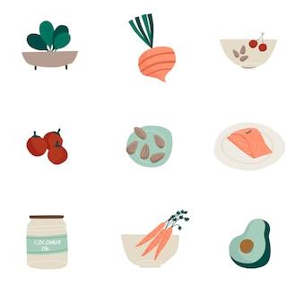 Insieme di vettori di icone cibo biologico