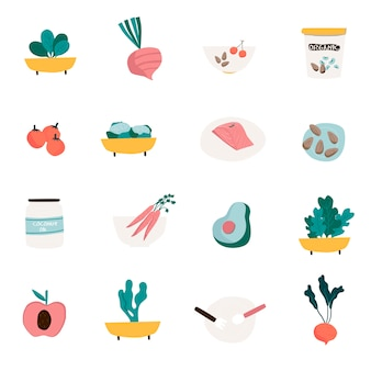 Set of organic food icon vectors