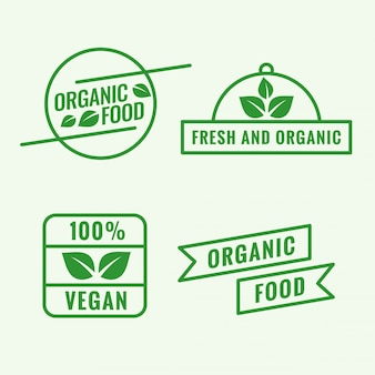 Set of organic food logo