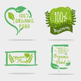 Установите сообщение с органическими продуктами с листьями естественных