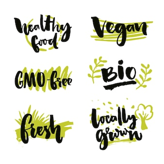 Set of organic food stickers vector labels for bio products gmo free locally grown healthy food