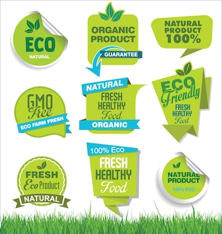 Set of organic fresh natural and tasty food labels