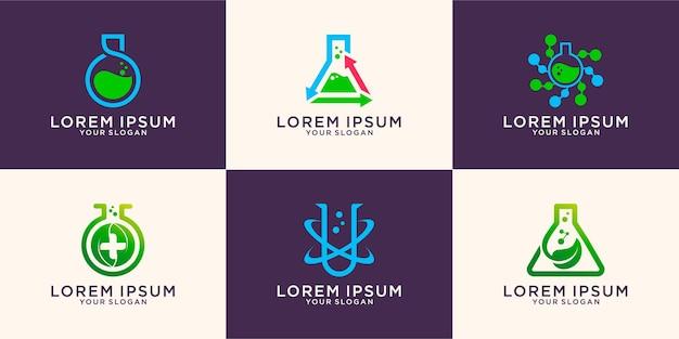 Set of organic green bio laboratory tube logo, icon, symbol, template premium vector