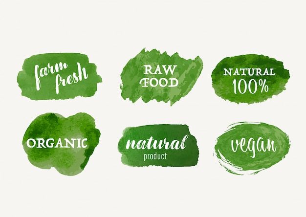 Set of organic label and natural label hand drawn stain brush. tag and sticker farm fresh logo vegan food mark.