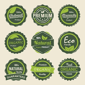 Set of organic premium product labels