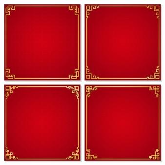 Set of oriental chinese border ornament  vector illustration