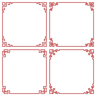 Set of oriental chinese border ornament