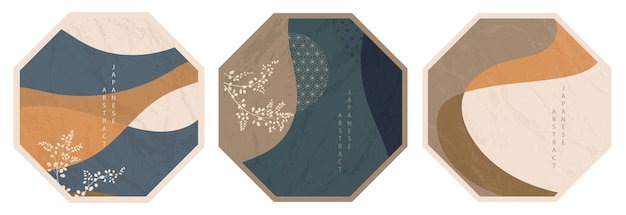Set of oriental japanese abstract octagonal pattern