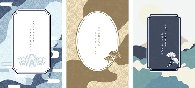 Set of oriental japanese abstract pattern with retro frame